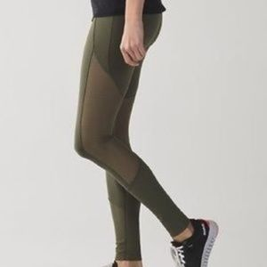 Lululemon Army Green Mesh Leggings Size 10